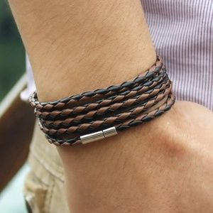 Other - Bolo braided black & brown leather wrap bracelet